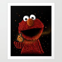 elmo Art Prints featuring Elmo and Little Butterfly by Fathi