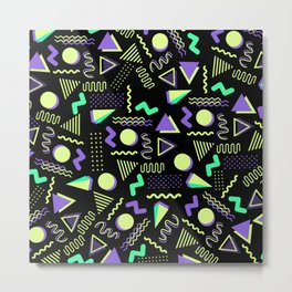 Geometrical retro lime green neon purple 80's abstract pattern Metal Print