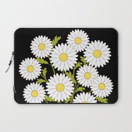 bouquet of camomiles in the vase on the black Laptop Sleeve
