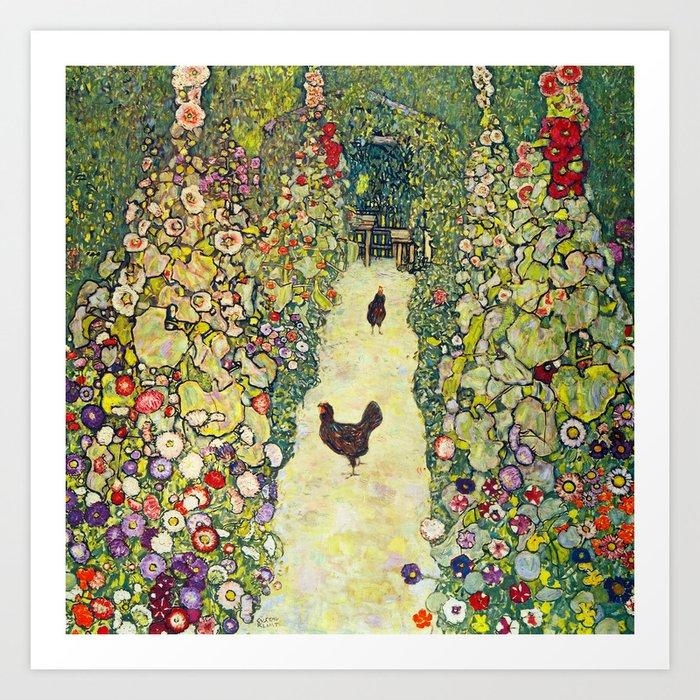 """Gustav Klimt """"Garden Path with Chickens"""" Kunstdrucke"""