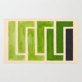 Sap Green Geometric Watercolor Painting Rug