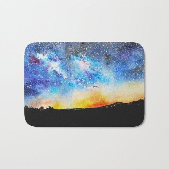 When night is falling    watercolor Bath Mat