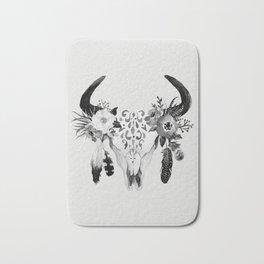 Floral bohemian watercolor animal stag head skull peach pink spiritual boho home wall decor Bath Mat