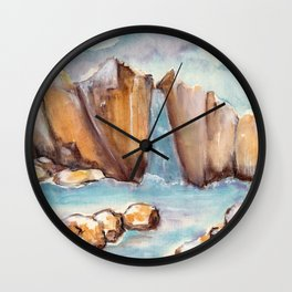 Waterfall and stones in the water by watercolor Wall Clock