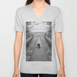 0925-LP Industrial Nature Nude Woman Straddling Massive Hydro Pipe Unisex V-Neck