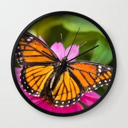 Orange Viceroy Butterfly Wall Clock