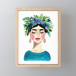 Floral Frida - Blue Framed Mini Art Print