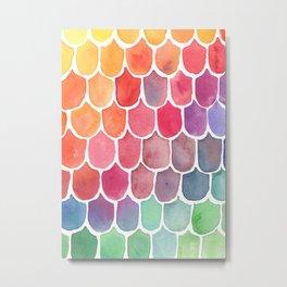 Watecolor Rainbow Mermaid Scales Metal Print