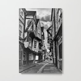York Shambles Black & White Metal Print