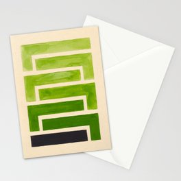 Sap Green Geometric Watercolor Painting Stationery Cards
