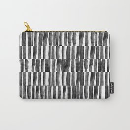 Watercolor Black and White Stripe Carry-All Pouch