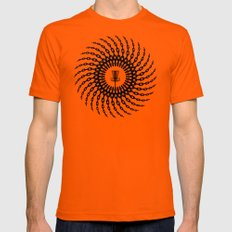 Disc Golf Basket Chains LARGE Mens Fitted Tee Orange