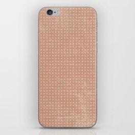 Vintage peach ivory polka dots brushstrokes pattern iPhone Skin