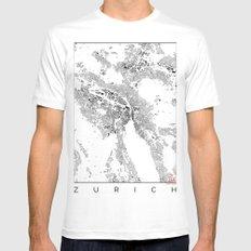 Zurich Schwarzplan Map Only Buildings MEDIUM White Mens Fitted Tee
