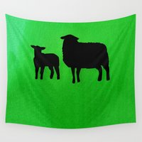 sheep Wall Tapestries featuring Sheep by Brontosaurus