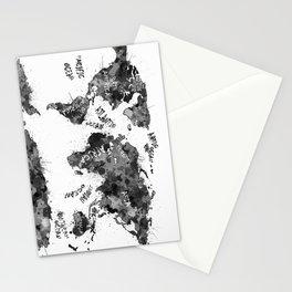 world map color splatter 4 Stationery Cards