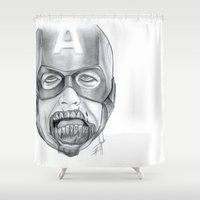 avenger Shower Curtains featuring Zombie Avenger by THINGS I DOODLE