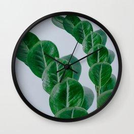 Simple Minimal Clean Tropical Leaf Print Wall Clock