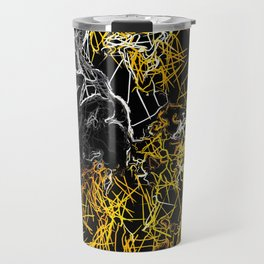 psychedelic sketching line pattern abstract in yellow black and white Travel Mug