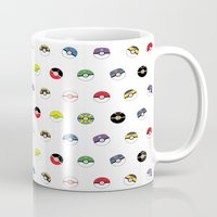 pokeball Mugs featuring Cute Pokeball Pattern by &joy