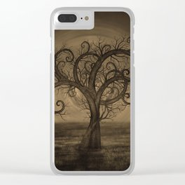 Golden Spiral Tree Sepia Clear iPhone Case