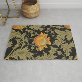 William Morris Yellow Flowers and Laurel Floral Textile Pattern Rug
