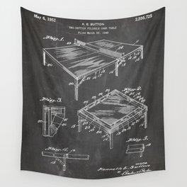 Table Tennis Patent - Tennis Art - Black Chalkboard Wall Tapestry