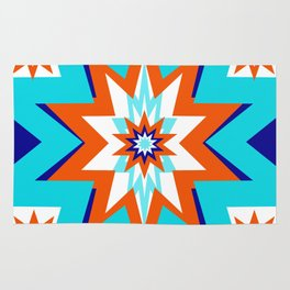 Star Graphic Blue and Orange Pattern Rug