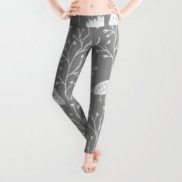 Kiwi Garden - Light Gray and White Leggings