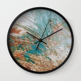 Palm Leaf Abstract Metallic art print Wall Clock