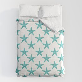 Starfishes (Teal & White Pattern) Comforters