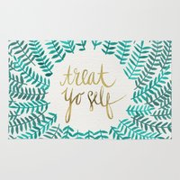 typography Area & Throw Rugs featuring Treat Yo Self – Gold & Turquoise by Cat Coquillette