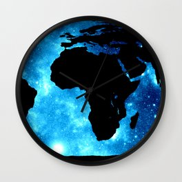 World Map : Blue Galaxy Wall Clock