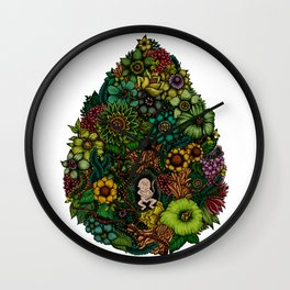 "Floral Uterus ""緑(ROKU)"" Wall Clock"