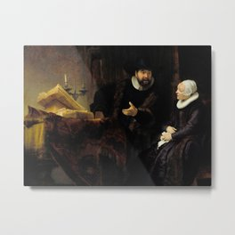 The Mennonite Preacher Anslo and his Wife Metal Print
