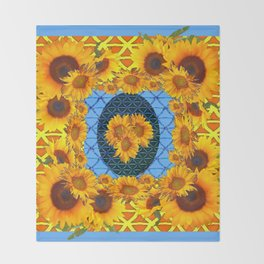 DECORATIVE  BABY BLUE ART & YELLOW SUNFLOWERS Throw Blanket