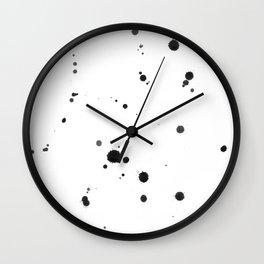 black drop splatters watercolor Wall Clock