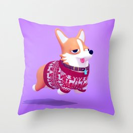 Dogs In Sweaters: Corgi Throw Pillow