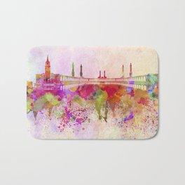 Mecca skyline in watercolor background Bath Mat