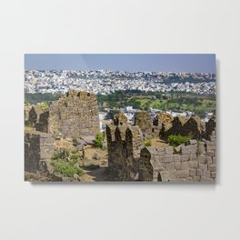 Remnants of an Ancient Stone Wall at Golconda Fort in Hyderabad, India Metal Print