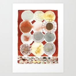 Burnt Orange Circles Art Print