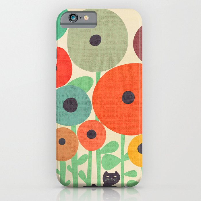 cat in flower garden iphone case