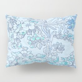 "Alphonse Mucha ""Anemones, Apple Blossoms and Narcissi"" (edited blue) Pillow Sham"