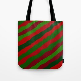 Red and Green Christmas Wrapping Paper Tote Bag