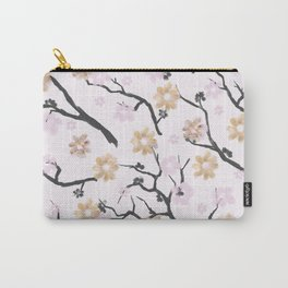 Blush pink black gold watercolor elegant floral Carry-All Pouch