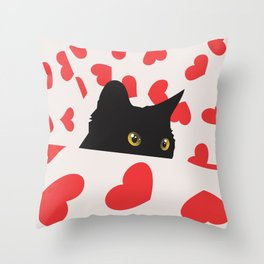 Black Cat Hiding in Hearts Throw Pillow