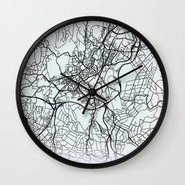 Santiago de Compostela, Spain, White, City, Map Wall Clock