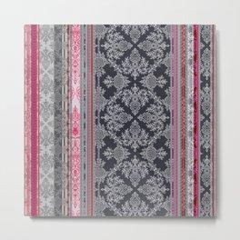 Burgundy, Pink, Navy & Grey Vintage Bohemian Wallpaper Metal Print