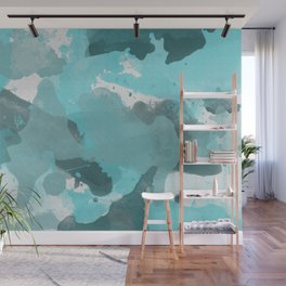 Teal / Turquoise Splatters Watercolor Camo Pattern Wall Mural
