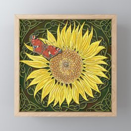 Sunflower and Peacock Butterfly Framed Mini Art Print